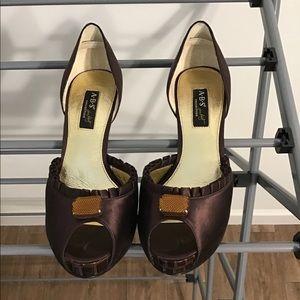 Brown Satin Pumps with Croc heel